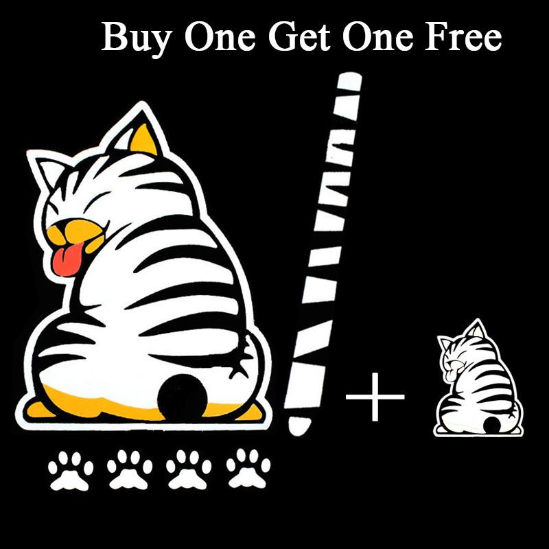 sticker ติดรถ รูปแมว หางใบปัดน้ำฝน สีขาว 19x25 cm. หางยาว 29x3 cm. เท้า 3x3cm. ส่งฟรีลทบ. emsเพิ่ม20