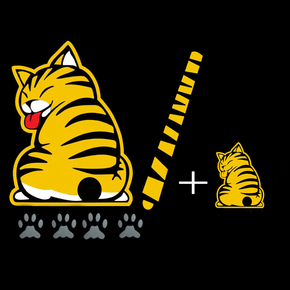 sticker ติดรถ รูปแมว หางใบปัดน้ำฝน สีเหลือง 19x25cm. หาง 29x3cm. เท้า 3x3cm. ส่งฟรีลทบ. emsเพิ่ม20