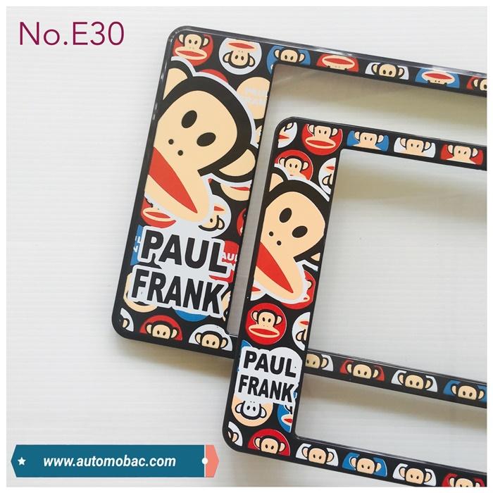 กรอบป้ายทะเบียน กันน้ำ E30 Paul Frank ลิงดำ พื้นลาย สั้นยาว คลิปล็อค 8 จุด มีอะไหล่ในกล่อง สวย ทน