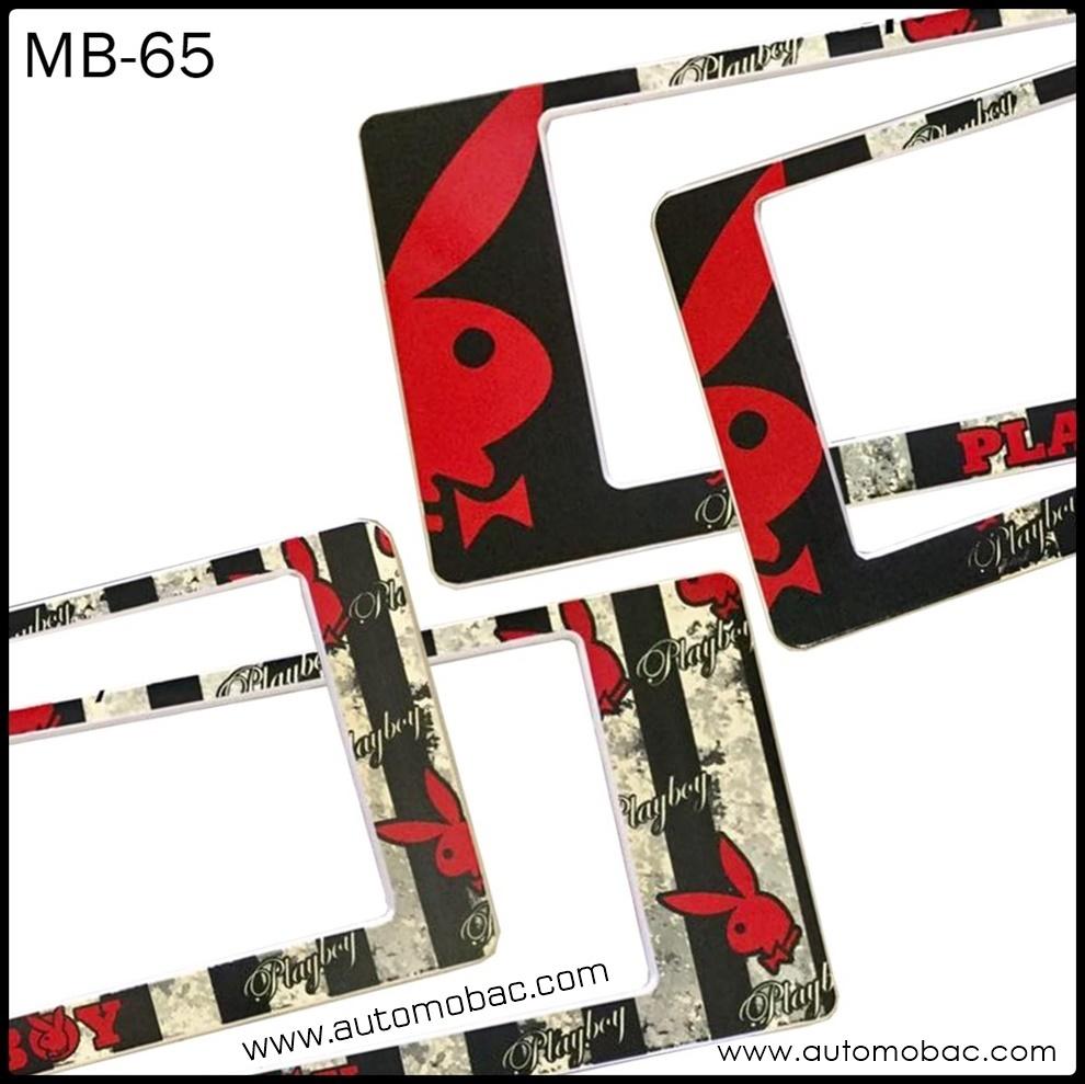 กรอบป้ายทะเบียน กันน้ำ MB-65 PLAYBOY RED สีแดงดำ สั้นยาว รุ่น SP7 ระบบล็อค8จุด อะไหล่ครบ