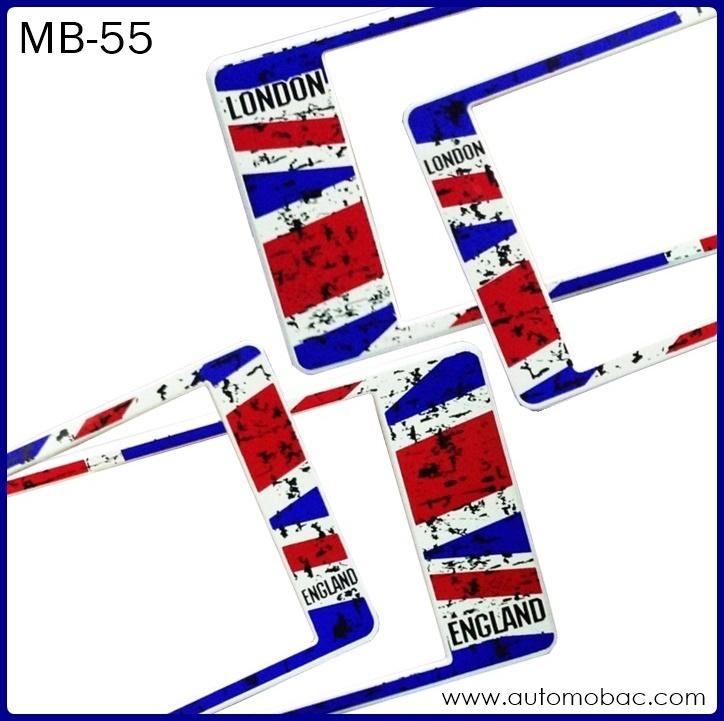 กรอบป้ายทะเบียนรถยนต์กันน้ำ MB-55 FLAG สั้น-ยาว ธงชาติอังกฤษ ลายพราง ระบบล็อค8จุด อะไหล่ครบ