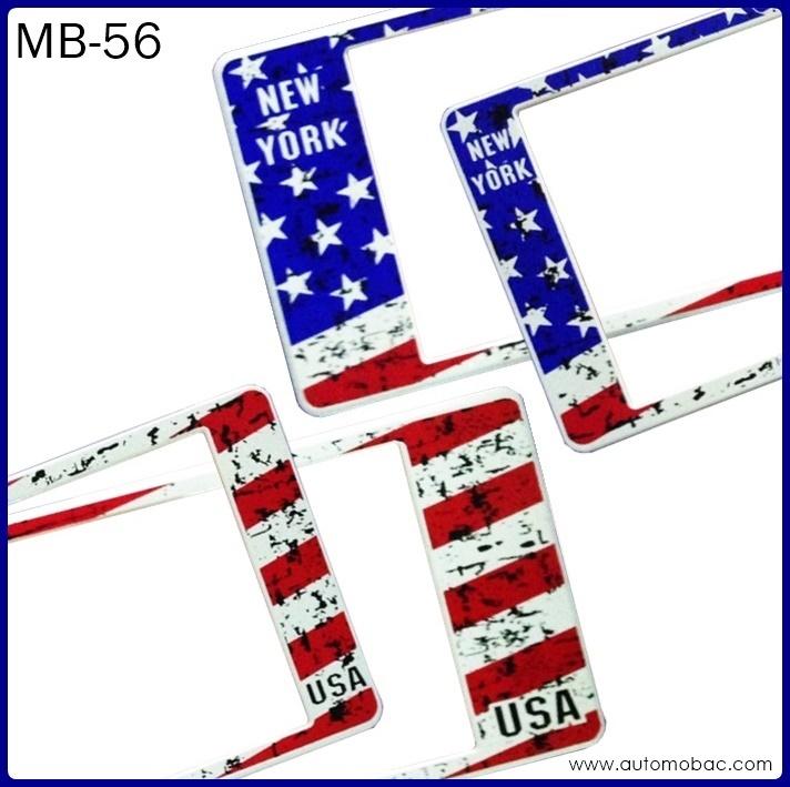 กรอบป้ายทะเบียนรถยนต์กันน้ำ MB-56 USA FLAG ธงชาติอเมริกา ลายพราง สั้น-ยาว ระบบล็อค8จุด อะไหล่ครบ