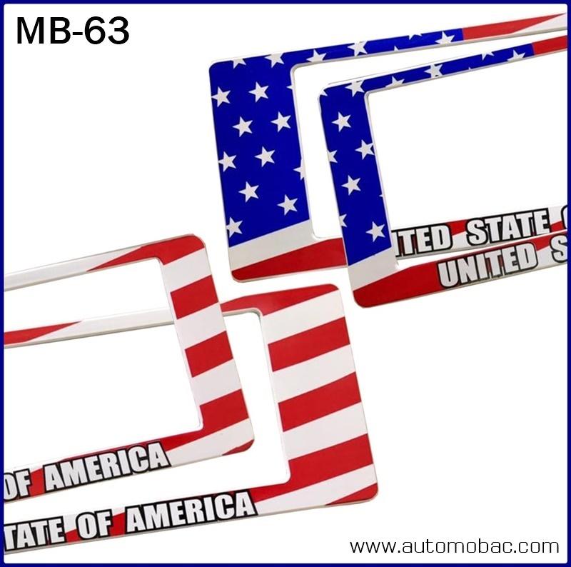 กรอบป้ายทะเบียนรถยนต์กันน้ำ MB-63 USA FLAG ธงชาติอเมริกา ลายพราง สั้น-ยาว ระบบล็อค8จุด อะไหล่ครบ