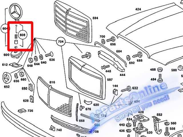 Auto Pro. สปริงเกี่ยวดาวฝากระโปรง รถเบนซ์คลาสสิค Mercedes-Benz W108 W109 W114 W115 และ W116 4