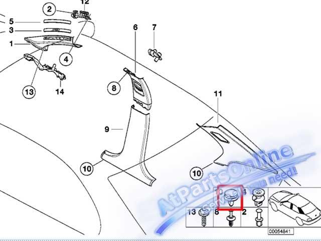 Auto Pro. กิ๊ปล็อคเสาข้างประตูและฝ้าหลังคา สำหรับรถบีเอ็มดับบลิว E36 E46 318i 320i 325i 323i และ 328 2