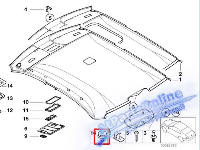 Auto Pro. กิ๊ปล็อคเสาข้างประตูและฝ้าหลังคา สำหรับรถบีเอ็มดับบลิว E36 E46 318i 320i 325i 323i และ 328 3