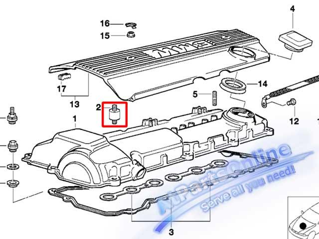 Auto Pro. สกูรตั้งฝาสูบ ยางกันกระแทกฝาวาล์ว รถบีเอ็มดับบลิว BMW เครื่องยนต์ M50 M52 M54 E34 E36 E46 3