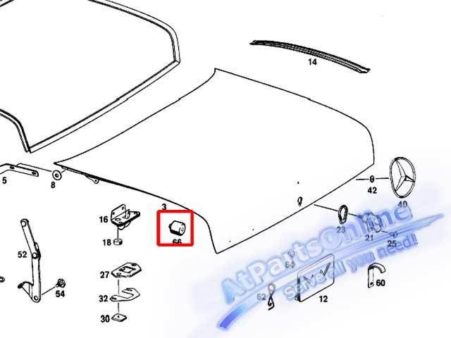 Auto Pro. ยางกันกระแทกฝากระโปรงท้ายรถเบนซ์คลาสสิค Mercedes-Benz Classic Models W107 W108 W109 W110 W 9