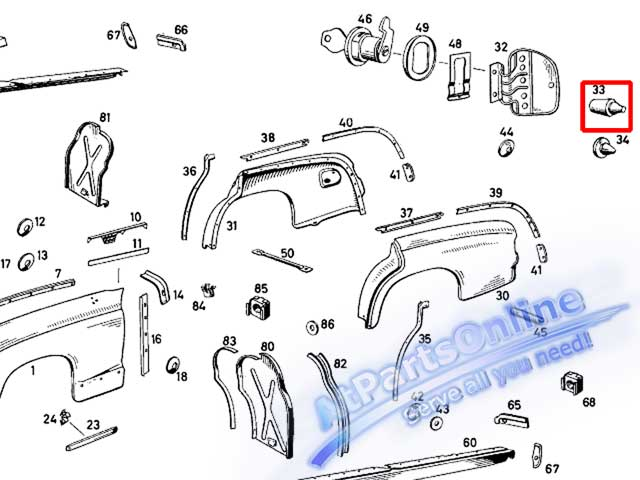Auto Pro. ยางกันกระแทกฝาถังน้ำมัน รถเบนซ์คลาสสิค Ponton Mercedes-Benz Classic Models W105 W120 W121 3