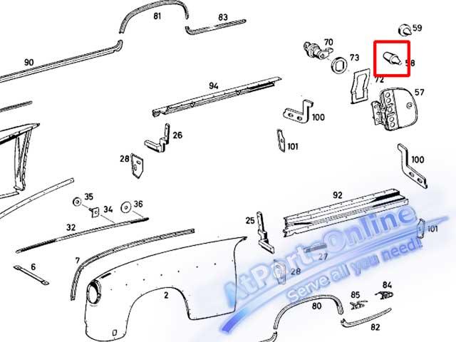Auto Pro. ยางกันกระแทกฝาถังน้ำมัน รถเบนซ์คลาสสิค Ponton Mercedes-Benz Classic Models W105 W120 W121 4