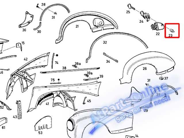 Auto Pro. ยางกันกระแทกฝาถังน้ำมัน รถเบนซ์คลาสสิค Ponton Mercedes-Benz Classic Models W105 W120 W121 5