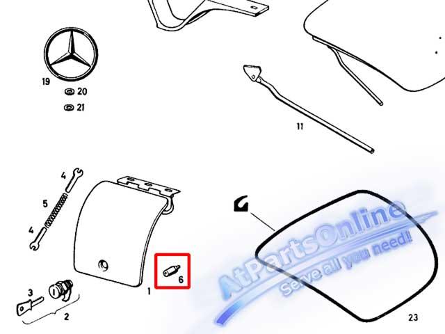 Auto Pro. ยางกันกระแทกฝาถังน้ำมัน รถเบนซ์คลาสสิค Ponton Mercedes-Benz Classic Models W105 W120 W121 6
