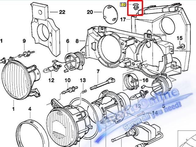 Auto Pro. กิ๊ปโครงไฟหน้า รถบีเอ็มดับบลิว BMW E32 E34 518i 520i 525i 528i 530i 540i 524td 740iL 750iL 3