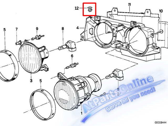 Auto Pro. กิ๊ปโครงไฟหน้า รถบีเอ็มดับบลิว BMW E32 E34 518i 520i 525i 528i 530i 540i 524td 740iL 750iL 4