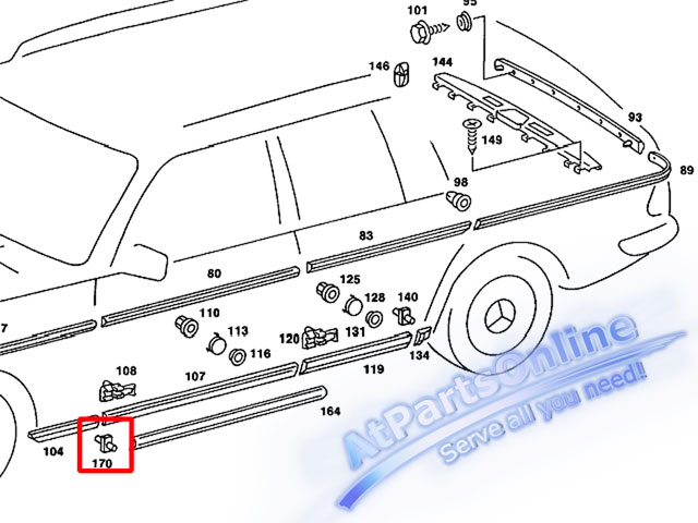 Auto Pro. กิ๊ปล็อคคิ้วโครเมี่ยมชายล่างบังโกลน สำหรับรถเบนซ์ Mercedes-Benz W123 220 230 240D 250D 300 3