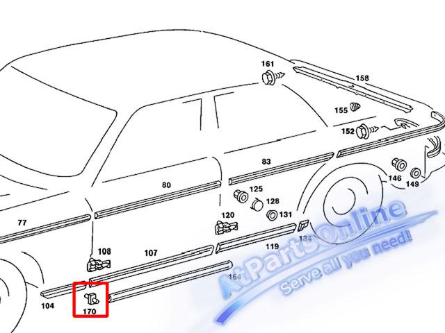 Auto Pro. กิ๊ปล็อคคิ้วโครเมี่ยมชายล่างบังโกลน สำหรับรถเบนซ์ Mercedes-Benz W123 220 230 240D 250D 300 4