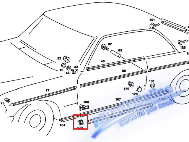Auto Pro. กิ๊ปล็อคคิ้วโครเมี่ยมชายล่างบังโกลน สำหรับรถเบนซ์ Mercedes-Benz W123 220 230 240D 250D 300 5