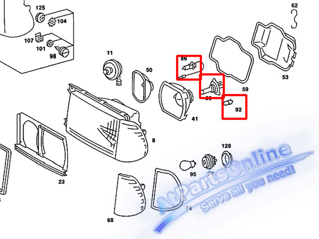 Auto Pro.ชุดหลอดไฟหน้า (100/90W) สำหรับรถเบนซ์คลาสสิก Mercedes-Benz W123 220 230 240D 250D 300D 230E 3