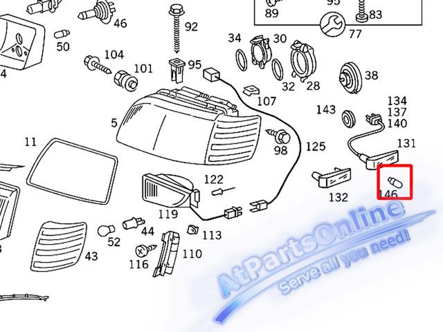 Auto Pro. ชุดหลอดไฟหรี่บังโกลน(หลอดใส) รถเบนซ์ Mercedes W124 W129 W140 W202 W204 W208 W209 W210 W221 5