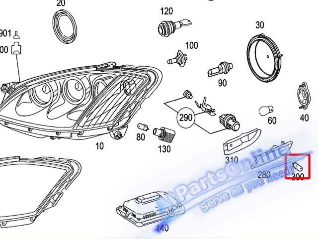 Auto Pro. ชุดหลอดไฟหรี่บังโกลน(หลอดใส) รถเบนซ์ Mercedes W124 W129 W140 W202 W204 W208 W209 W210 W221 10