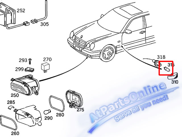 Auto Pro. ชุดหลอดไฟหรี่บังโกลน(หลอดใส) รถเบนซ์ Mercedes W124 W129 W140 W202 W204 W208 W209 W210 W221 11