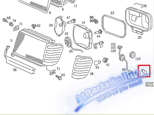 Auto Pro. ชุดหลอดไฟหรี่บังโกลน(สีส้ม) รถเบนซ์ Mercedes W124 W129 W140 W202 W204 W208 W209 W210 W221 3