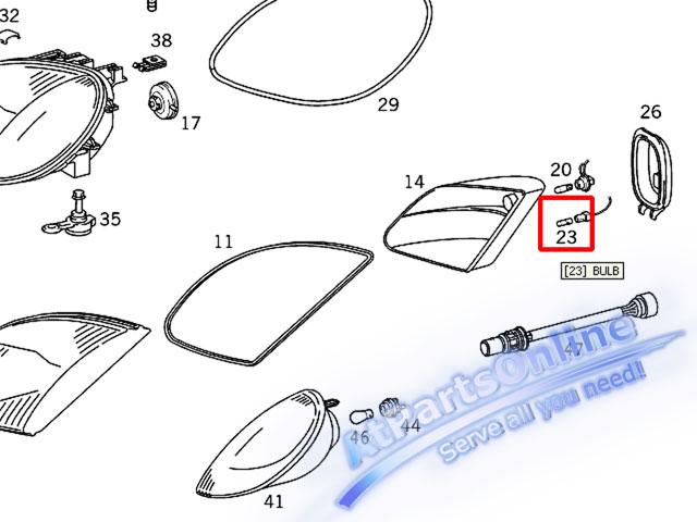 Auto Pro. ชุดหลอดไฟหรี่บังโกลน(สีส้ม) รถเบนซ์ Mercedes W124 W129 W140 W202 W204 W208 W209 W210 W221 4