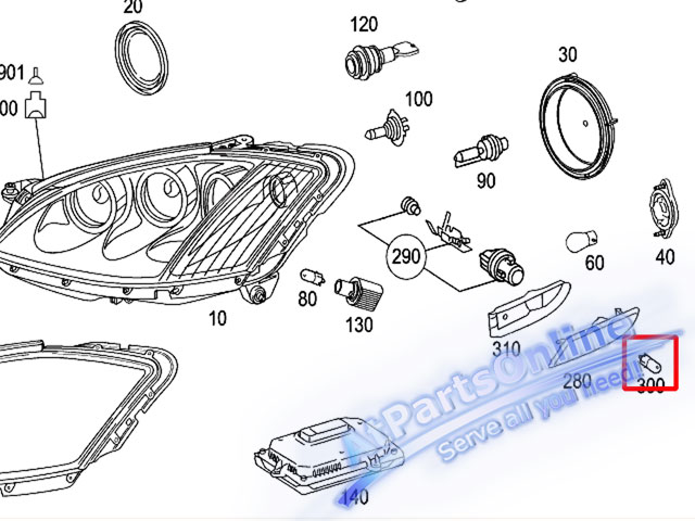 Auto Pro. ชุดหลอดไฟหรี่บังโกลน(สีส้ม) รถเบนซ์ Mercedes W124 W129 W140 W202 W204 W208 W209 W210 W221 10