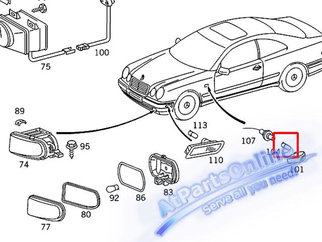 Auto Pro. ชุดหลอดไฟหรี่บังโกลน(สีส้ม) รถเบนซ์ Mercedes W124 W129 W140 W202 W204 W208 W209 W210 W221 12