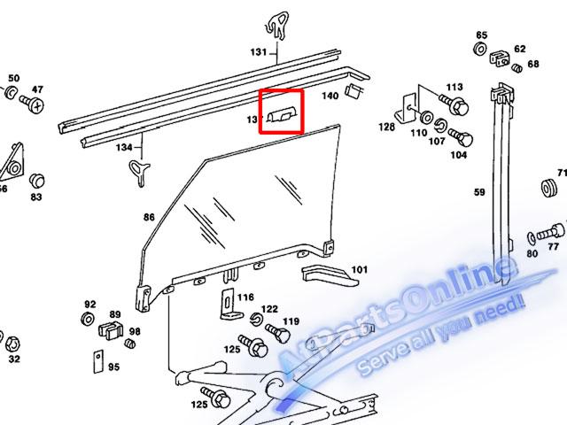 Auto Pro. กิ๊ปล็อคยางรีดน้ำขอบกระจกประตู สำหรับรถเบนซ์ Mercedes-Benz W123 200 200D 230 230E 230TE 24 4