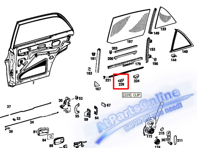 Auto Pro. กิ๊ปล็อคยางรีดน้ำขอบกระจกประตูด้านนอก สำหรับรถเบนซ์ Mercedes-Benz W108 W109 W114/8 W115 20 6