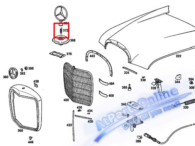 Auto Pro. สปริงเกี่ยวดาวฝากระโปรง รถเบนซ์คลาสสิค Ponton, Fintail Mercedes-Benz W121 W110 W111 W112 3