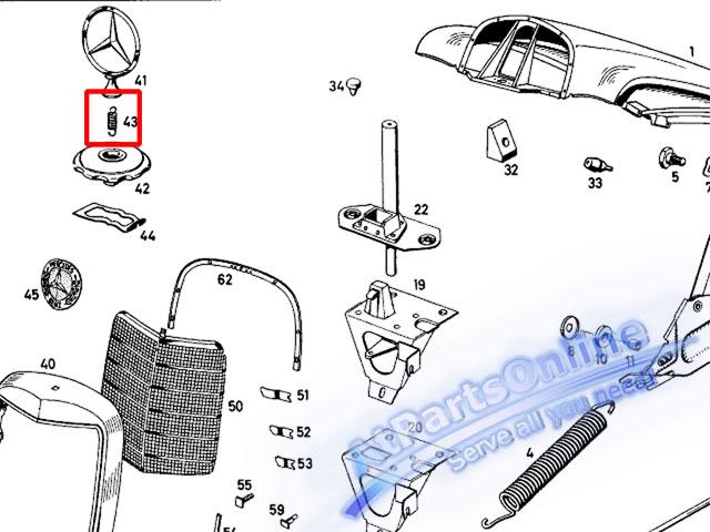 Auto Pro. สปริงเกี่ยวดาวฝากระโปรง รถเบนซ์คลาสสิค Ponton, Fintail Mercedes-Benz W121 W110 W111 W112 4