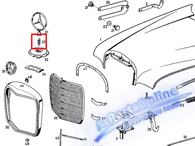 Auto Pro. สปริงเกี่ยวดาวฝากระโปรง รถเบนซ์คลาสสิค Ponton, Fintail Mercedes-Benz W121 W110 W111 W112 5