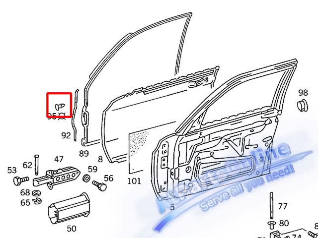 Auto Pro. กิ๊ปล็อคยางประตู สำหรับรถเบนซ์คลาสสิค Mercedes-Benz W126 SE SEL 4 ประตู ซีดาน 260SE 280S 3 3