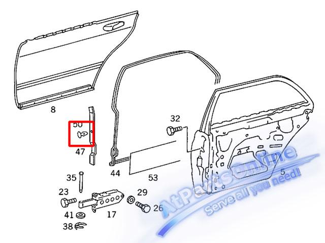 Auto Pro. กิ๊ปล็อคยางประตู สำหรับรถเบนซ์คลาสสิค Mercedes-Benz W126 SE SEL 4 ประตู ซีดาน 260SE 280S 3 4