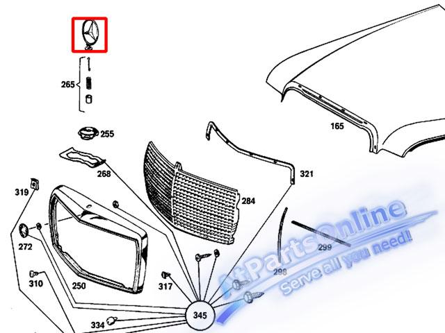 Auto Pro. ดาวฝากระโปรงหน้า โลโก้สัญลักษณ์ชุดทองรถเบนซ์ Mercedes-Benz W114/8 W115 200 220 200D 230.4 6