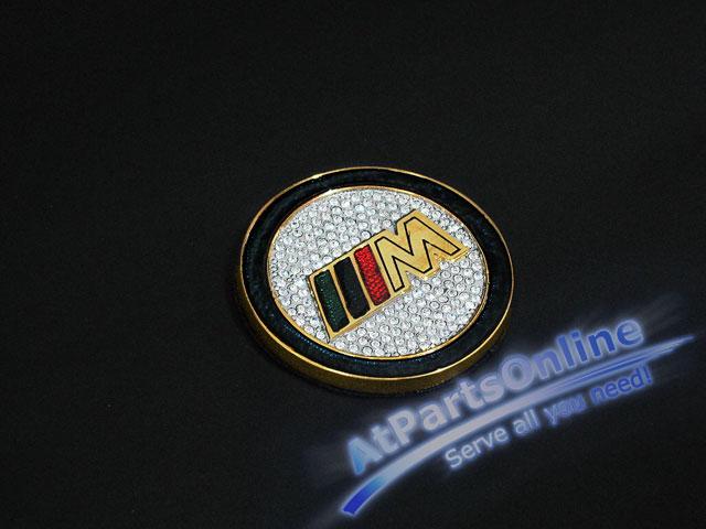 Auto Pro. โลโก้สัญลักษณ์ M-Technic วงพวงมาลัยสีทองคริสตัลรถบีเอ็มดับบลิว E12 E21 E28 E30 E32 E34 E36