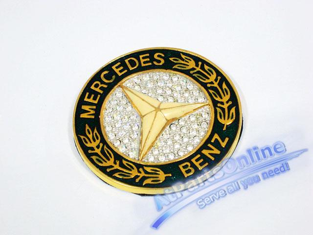 Auto Pro. โลโก้สัญลักษณ์ Star วงพวงมาลัยสีทองคริสตัล รถเมอร์ซิเดส Mercedes-Benz W107 W123 W124 W126