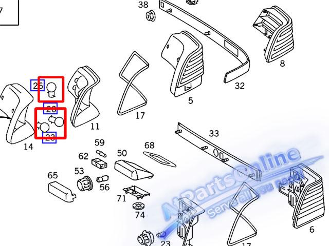 Auto Pro. ชุดหลอดไฟท้าย สำหรับรถเบนซ์ Mercedes-Benz W140 300SE 400SEL 500SEL S280 S320 S380 S500 S60 3