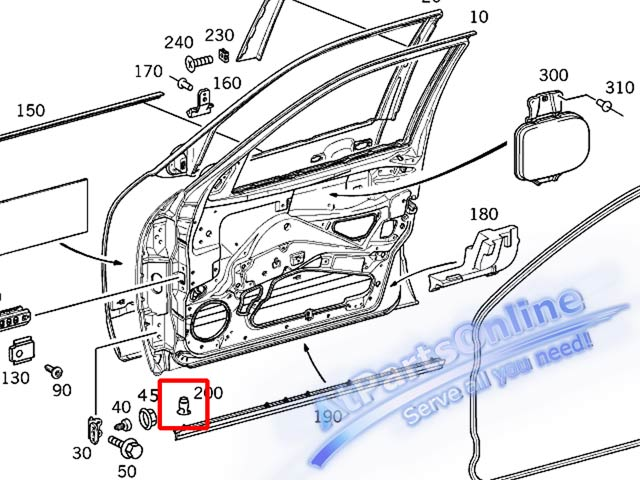 Auto Pro. กิ๊ปล็อคคิ้วบันได กิ๊บคิ้วชายล่างประตู MB W202 W208 W210 C180 C220 E200 E230 E280 CLK20 6
