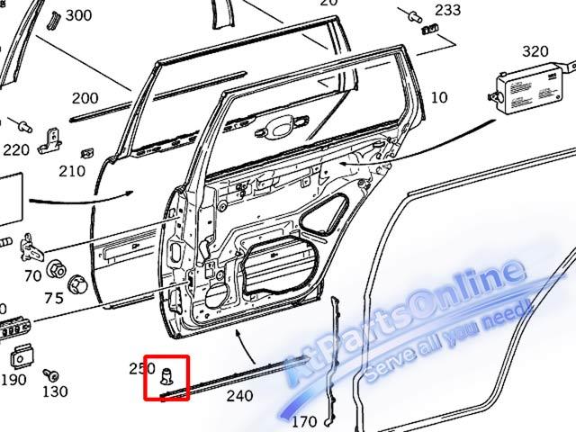 Auto Pro. กิ๊ปล็อคคิ้วบันได กิ๊บคิ้วชายล่างประตู MB W202 W208 W210 C180 C220 E200 E230 E280 CLK20 7