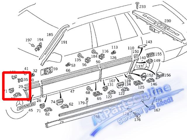 Auto Pro. กิ๊บล็อคกาบบังโกลนหน้า สำหรับรถเบนซ์ W124 200E 230E 260E 280E 300E 500E 230TE E220 E280 6