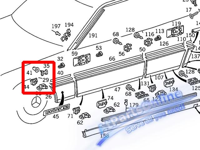 Auto Pro. กิ๊บล็อคกาบบังโกลนหน้า สำหรับรถเบนซ์ W124 200E 230E 260E 280E 300E 500E 230TE E220 E280 5