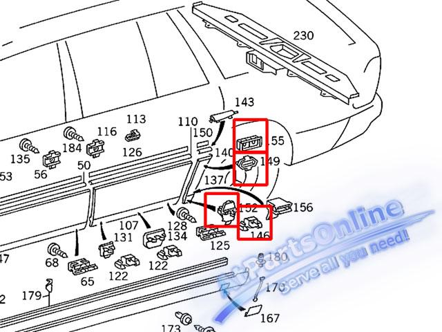 Auto Pro. กิ๊บล็อคกาบบังโกลนหลัง สำหรับรถเบนซ์ W124 200E 230E 260E 280E 300E 500E 230TE E220 E280 4