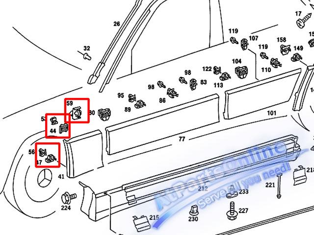 Auto Pro. กิ๊บล็อคกาบบังโกลนหน้า สำหรับรถเบนซ์ W201 190 190D 190E 1.8 2.0 2.3 2.5 2.6 ซีดาน 5