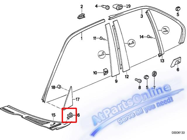 Auto Pro. กิ๊ปล็อคตะแกรงช่องลมฝากระโปรง รถบีเอ็มดับบลิว BMW E32 E34 518i 520i 525i 525td 730iL 740iL 3