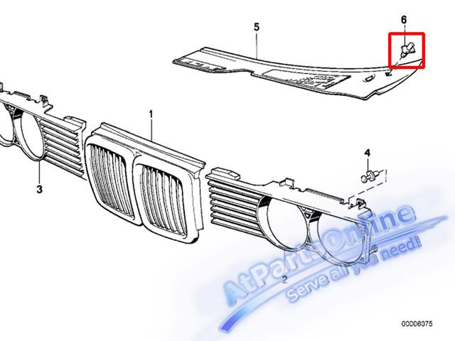 Auto Pro. กิ๊ปล็อคตะแกรงช่องลมฝากระโปรง รถบีเอ็มดับบลิว BMW E32 E34 518i 520i 525i 525td 730iL 740iL 4