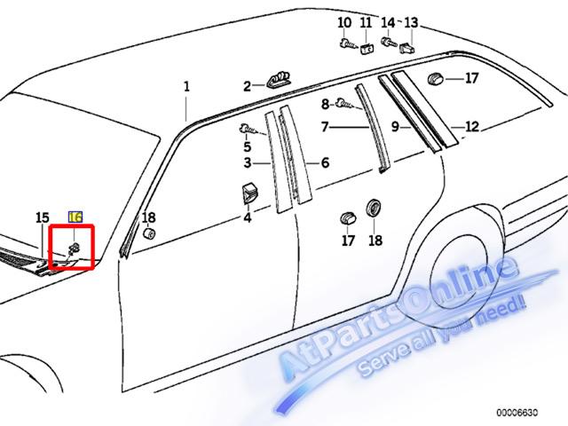 Auto Pro. กิ๊ปล็อคตะแกรงช่องลมฝากระโปรง รถบีเอ็มดับบลิว BMW E32 E34 518i 520i 525i 525td 730iL 740iL 5