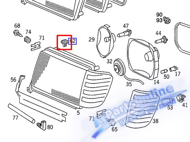 Auto Pro. สกูรล็อคปรับตั้งไฟหน้า สำหรับรถเบนซ์ W124 200E 230E 280E 300E 500E 230TE E220 E280 E500 CE 6